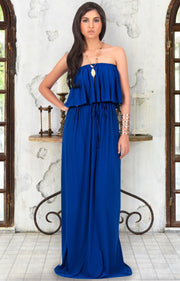 ANIYAH - Strapless Maxi Dress Long Evening Summer Flowy Gown Beach - Cobalt / Royal Blue / 2X Large