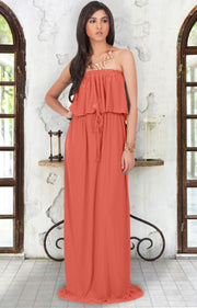ANIYAH - Strapless Maxi Dress Long Evening Summer Flowy Gown Beach - Coral / Pink Peach / 2X Large