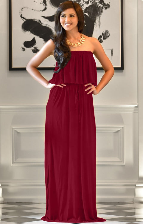 ANIYAH - Strapless Maxi Dress Long Evening Summer Flowy Gown Beach - Crimson Dark Red / 2X Large