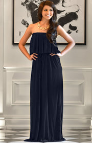 ANIYAH - Strapless Maxi Dress Long Evening Summer Flowy Gown Beach - Dark Navy Blue / 2X Large