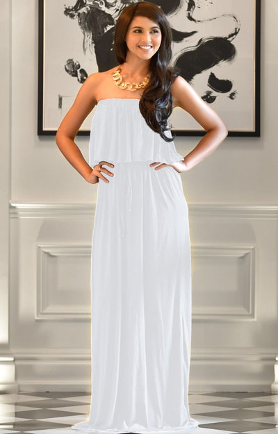 ANIYAH - Strapless Maxi Dress Long Evening Summer Flowy Gown Beach - Ivory White / 2X Large
