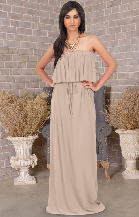 ANIYAH - Strapless Maxi Dress Long Evening Summer Flowy Gown Beach - Tan Light Brown / 2X Large
