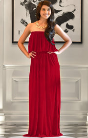 ANIYAH - Strapless Maxi Dress Long Evening Summer Flowy Gown Beach - Red / 2X Large