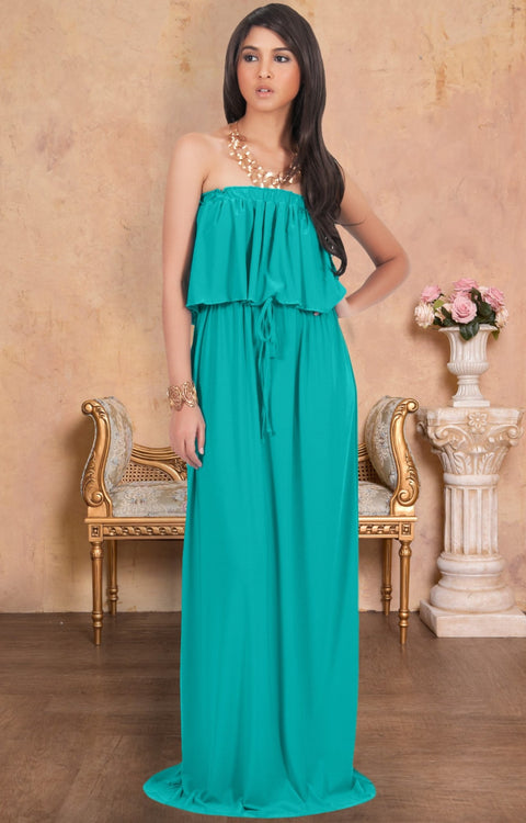 ANIYAH - Strapless Maxi Dress Long Evening Summer Flowy Gown Beach - Turquoise / 2X Large
