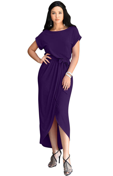 ARDEN - Short Sleeve Midi Dress Split Pencil Casual Summer Crewneck