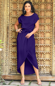 ARDEN - Short Sleeve Midi Dress Split Pencil Casual Summer Crewneck - Indigo Blue Purple / Small
