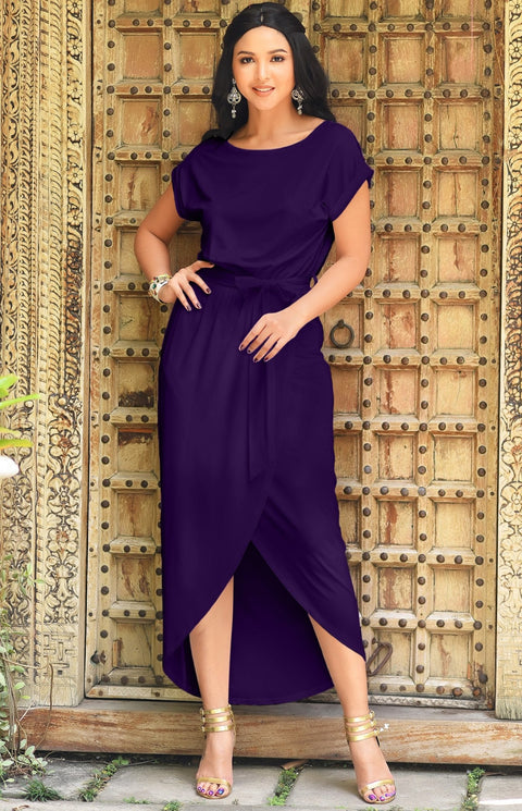 ARDEN - Short Sleeve Midi Dress Split Pencil Casual Summer Crewneck - Lavender Purple / 2X Large