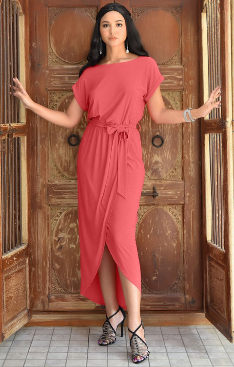 ARDEN - Short Sleeve Midi Dress Split Pencil Casual Summer Crewneck - Watermelon Pink / 2X Large