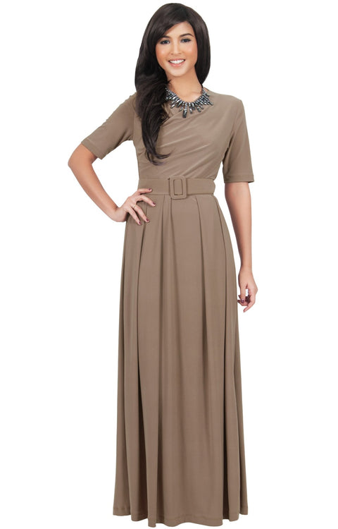 ARYA - Long Elegant Modest Short Sleeve Casual Flowy Maxi Dress Gown