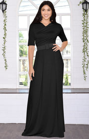 ARYA - Long Elegant Modest Short Sleeve Casual Flowy Maxi Dress Gown - Black / 2X Large