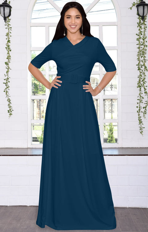 ARYA - Long Elegant Modest Short Sleeve Casual Flowy Maxi Dress Gown - Blue Teal / 2X Large