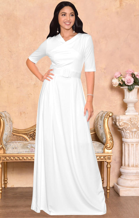 ARYA - Long Elegant Modest Short Sleeve Casual Flowy Maxi Dress Gown - Ivory White / 2X Large