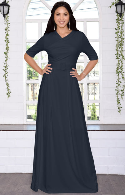 ARYA - Long Elegant Modest Short Sleeve Casual Flowy Maxi Dress Gown - Dark Navy Blue / 2X Large