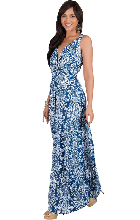 ASH - Sleeveless Flowy Cute Sexy Summer Flower Sun Maxi Dress