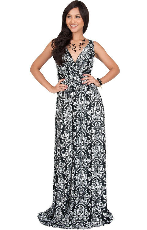 ASH - Sleeveless Flowy Cute Sexy Summer Flower Sun Maxi Dress - Black & White / 2X Large