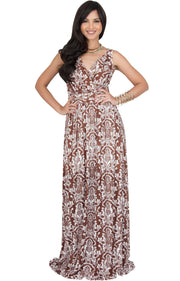 ASH - Sleeveless Flowy Cute Sexy Summer Flower Sun Maxi Dress - Brown & White / 2X Large