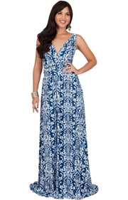 ASH - Sleeveless Flowy Cute Sexy Summer Flower Sun Maxi Dress - Navy Blue & White / 2X Large