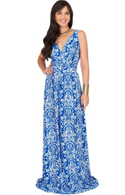 ASH - Sleeveless Flowy Cute Sexy Summer Flower Sun Maxi Dress - Royal Blue & White / 2X Large