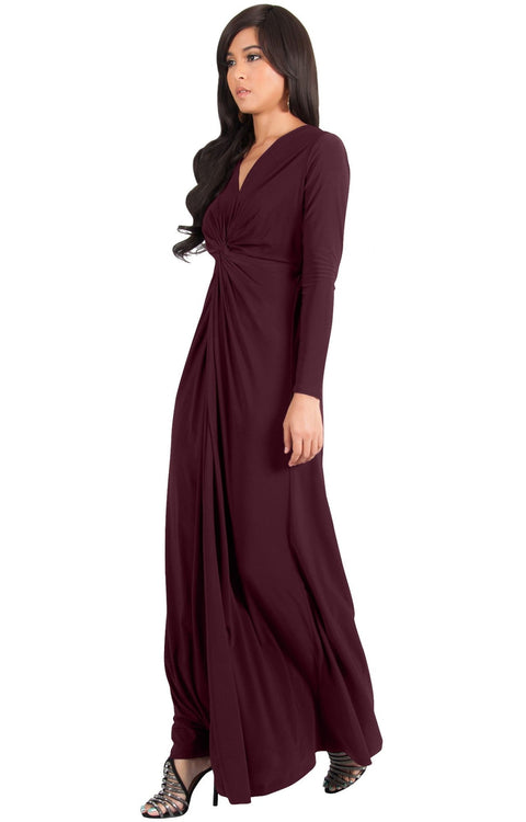 AUDREY - Flowy Long Sleeve Maxi Dress Gown Casual Modest Bridal