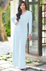 AUDREY - Flowy Long Sleeve Maxi Dress Gown Casual Modest Bridal - Baby Light Blue / 2X Large