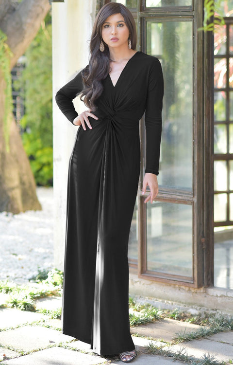 AUDREY - Flowy Long Sleeve Maxi Dress Gown Casual Modest Bridal - Black / 2X Large