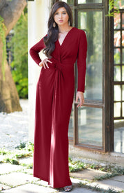 AUDREY - Flowy Long Sleeve Maxi Dress Gown Casual Modest Bridal - Crimson Dark Red / 2X Large