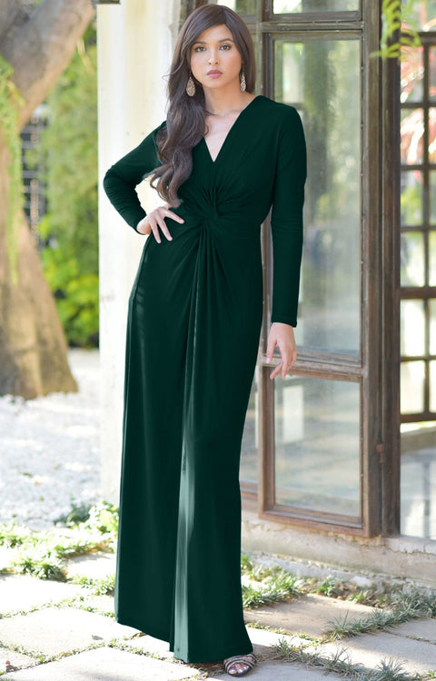 AUDREY - Flowy Long Sleeve Maxi Dress Gown Casual Modest Bridal - Emerald Green / 2X Large