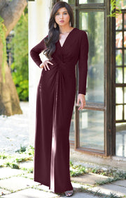 AUDREY - Flowy Long Sleeve Maxi Dress Gown Casual Modest Bridal - Maroon Wine Red / 2X Large