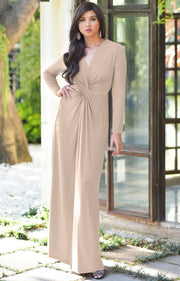 AUDREY - Flowy Long Sleeve Maxi Dress Gown Casual Modest Bridal - Tan Light Brown / 2X Large