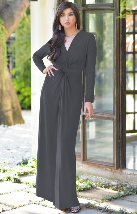 AUDREY - Flowy Long Sleeve Maxi Dress Gown Casual Modest Bridal - Pewter Gray Grey / 2X Large