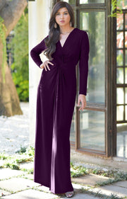 AUDREY - Flowy Long Sleeve Maxi Dress Gown Casual Modest Bridal - Purple / 2X Large