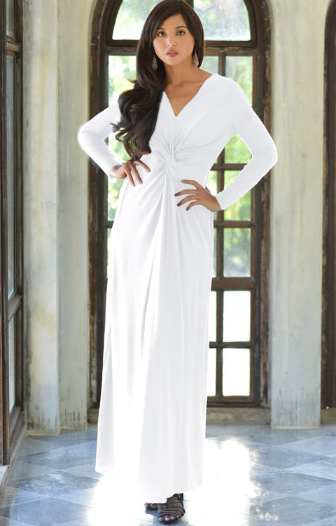 AUDREY - Flowy Long Sleeve Maxi Dress Gown Casual Modest Bridal - White / 2X Large