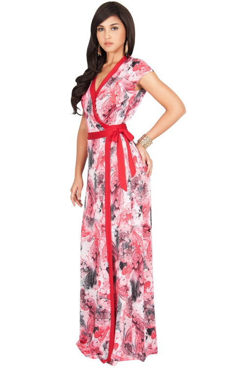 AVA - Womens Cap Sleeve Maxi Dress Sexy Print Summer Floral Gown