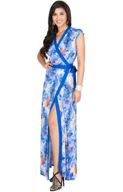 AVA - Womens Cap Sleeve Maxi Dress Sexy Print Summer Floral Gown - Cobalt Royal Blue / Small