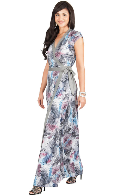 AVA - Womens Cap Sleeve Maxi Dress Sexy Print Summer Floral Gown - Gray Grey / Small