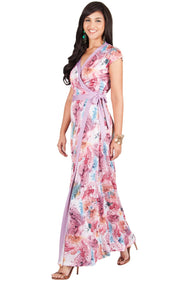 AVA - Womens Cap Sleeve Maxi Dress Sexy Print Summer Floral Gown - Hot Fuchsia Pink / Medium