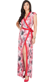 AVA - Womens Cap Sleeve Maxi Dress Sexy Print Summer Floral Gown - Red / Medium