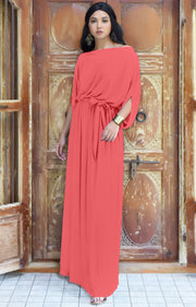 BETSI - Long Flowy Casual Half Short Sleeve Elegant Dressy Maxi Dress