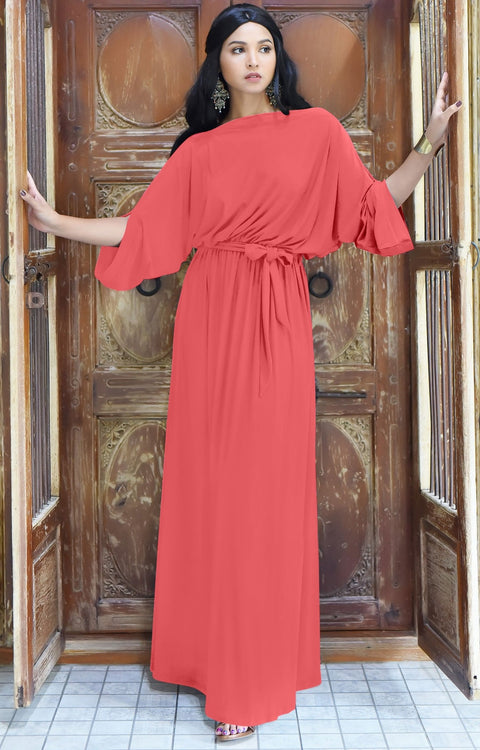 BETSI - Long Flowy Casual Half Short Sleeve Elegant Dressy Maxi Dress - Watermelon Pink / 2X Large