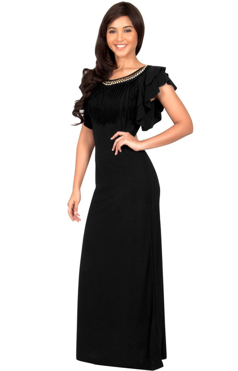 BONNIE - Sleeveless Embellished Neck Cap Sleeve Long Maxi Dress