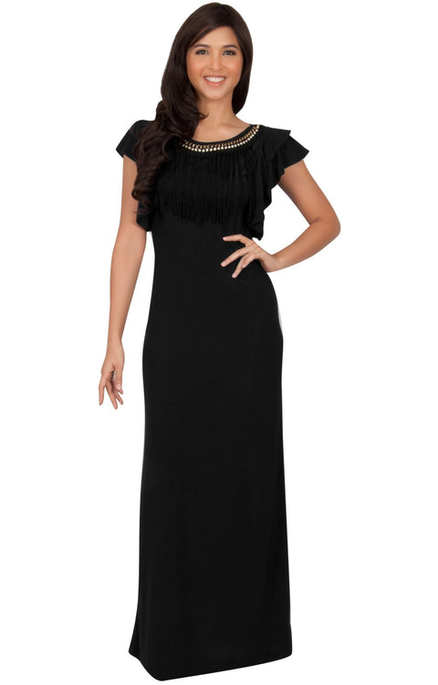 BONNIE - Sleeveless Embellished Neck Cap Sleeve Long Maxi Dress - Black / Small