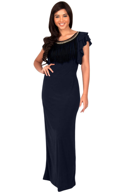 BONNIE - Sleeveless Embellished Neck Cap Sleeve Long Maxi Dress - Dark Navy Blue / Small