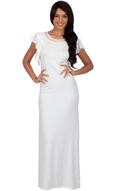 BONNIE - Sleeveless Embellished Neck Cap Sleeve Long Maxi Dress - Ivory White / Small