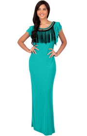 BONNIE - Sleeveless Embellished Neck Cap Sleeve Long Maxi Dress - Turquoise / Small