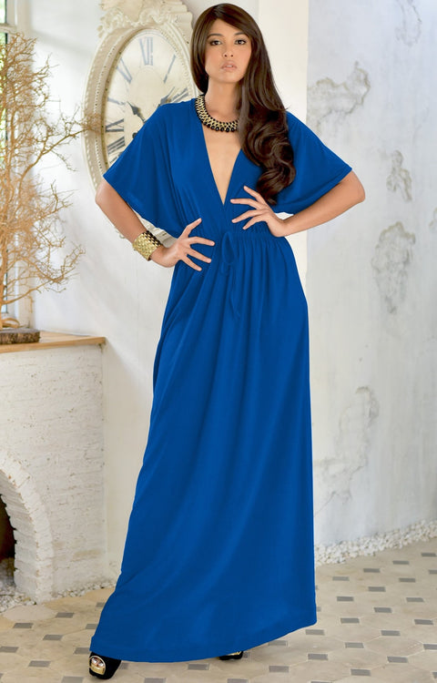 BRIELLE - Sundress Holiday Vacation Maxi Dress Gown Travel Cruise Sun - Cobalt / Royal Blue / 2X Large