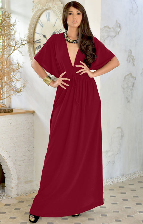 BRIELLE - Sundress Holiday Vacation Maxi Dress Gown Travel Cruise Sun - Crimson Dark Red / 2X Large