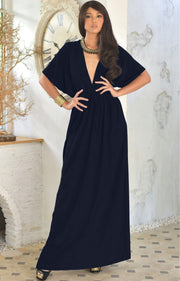 BRIELLE - Sundress Holiday Vacation Maxi Dress Gown Travel Cruise Sun - Dark Navy Blue / 2X Large