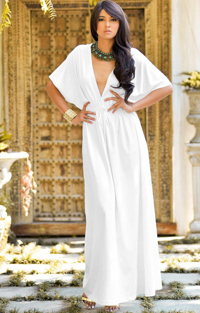 BRIELLE - Sundress Holiday Vacation Maxi Dress Gown Travel Cruise Sun - Ivory White / 2X Large