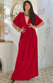 BRIELLE - Sundress Holiday Vacation Maxi Dress Gown Travel Cruise Sun - Red / 2X Large