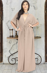 BRIELLE - Sundress Holiday Vacation Maxi Dress Gown Travel Cruise Sun - Tan Light Brown / 2X Large